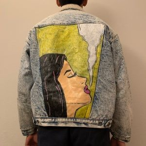 Acid Wash jean jacket with hand painted back